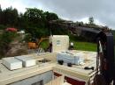 Skivmaterial inlyft på bjälklaget och två väggar på plats. Faluhus Gnesta